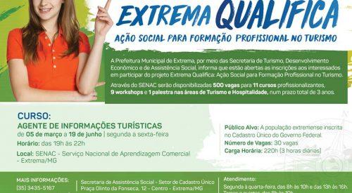 """""""Extrema Qualifica"""" abre inscrições para curso de Agente de Informações Turísticas"""